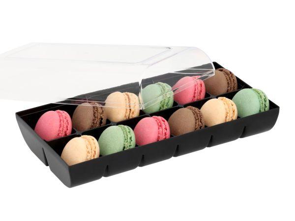 Macaron-Halbschalen 24 Stück bunt in 12er Box schwarz