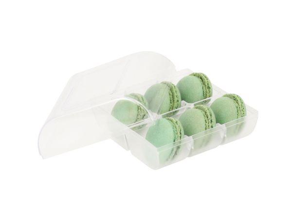 Macaron-Halbschalen 12 Stück grün in 6er Box transparent