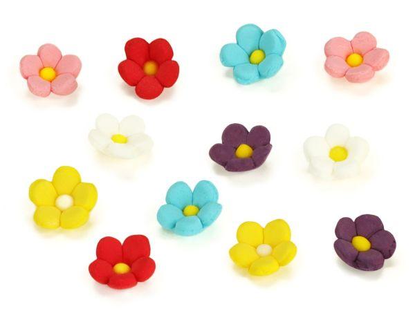Blumen 13mm bunt Zucker 36 Stück