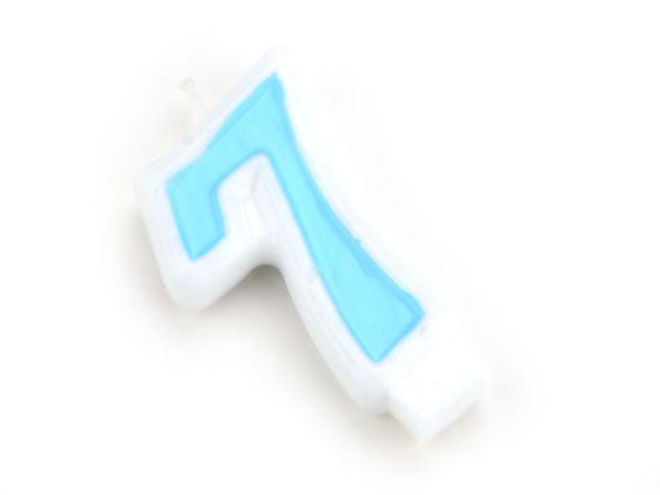 Zahlenkerze blau 7