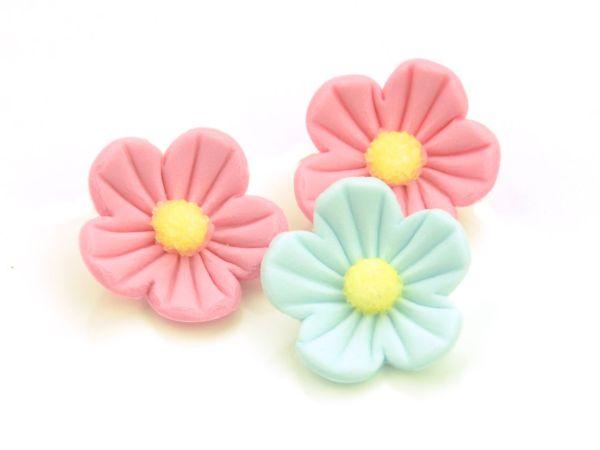 Blumen 25mm rosa-blau Zucker 16 Stück