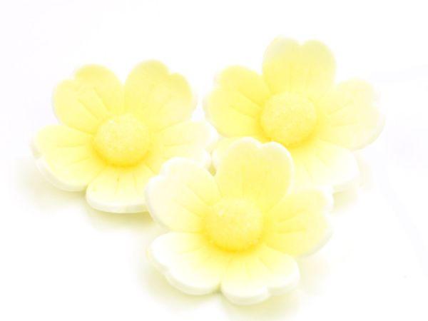 Blumen 40mm gelb Zucker 6 Stück