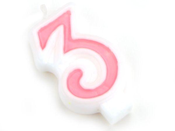 Zahlenkerze rosa 3