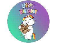 Tortenaufleger Pummeleinhorn Happy Birthday rund 20cm