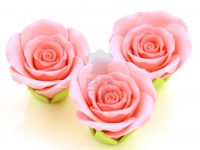 Rosen 50mm rosa Zucker 3 Stück