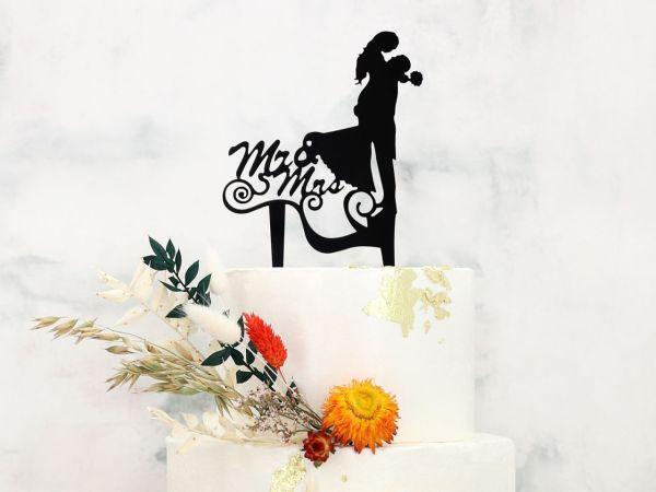 Cake Topper Mr. & Mrs. schwarz