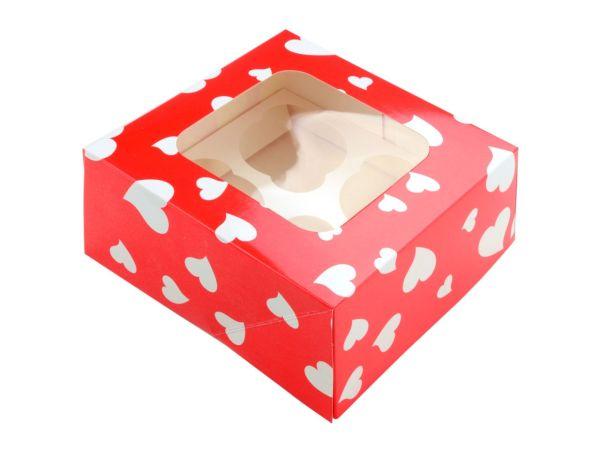 Cupcake Box Herzen für 4 Stück 2er Set