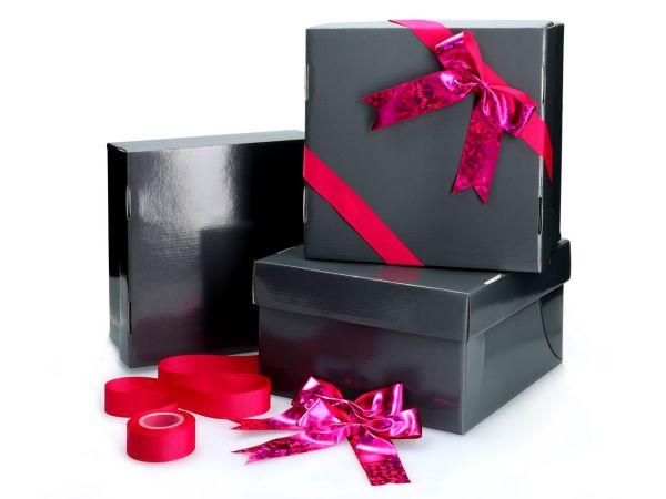 Tortenkarton graphit 26cm 3er Set mit Schleifenset pink