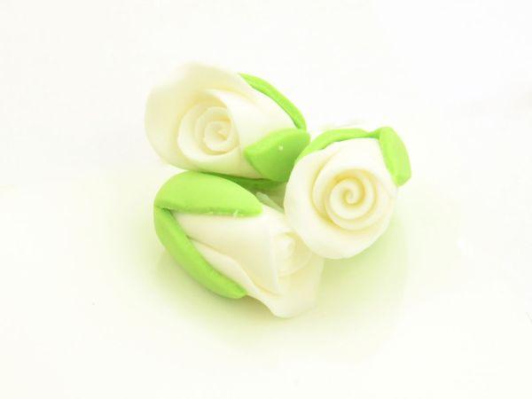Rosenknospen weiß Zucker 3 Stück