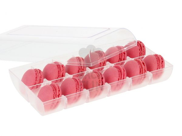 Macaron-Halbschalen 24 Stück rot in 12er Box transparent