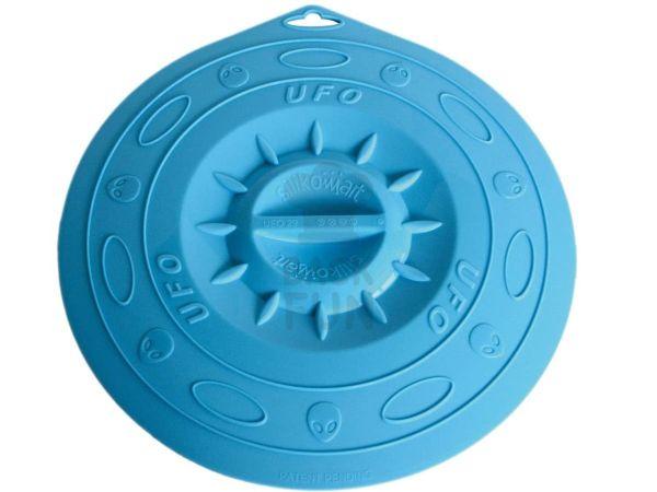 Universaldeckel aus Silikon 21cm blau transparent
