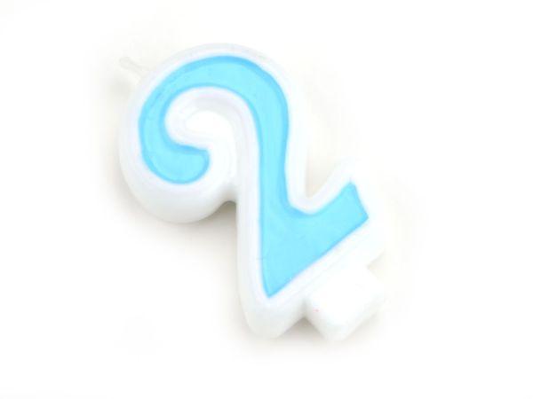 Zahlenkerze blau 2