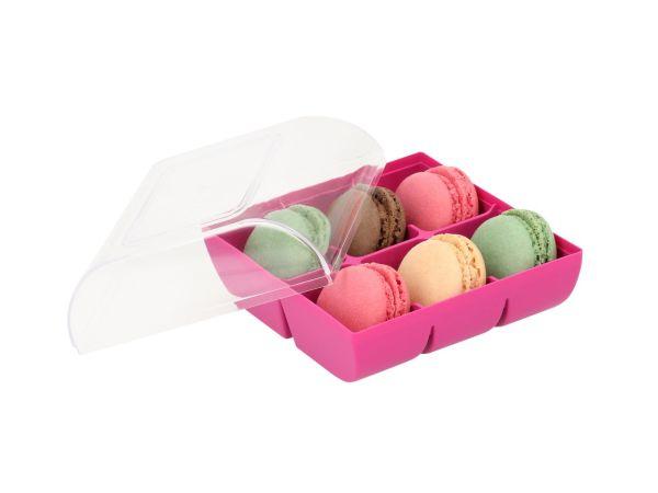Macaron-Halbschalen 12 Stück bunt in 6er Box fuchsia