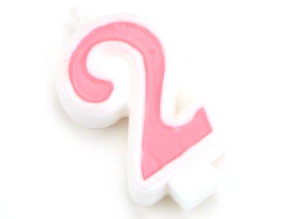 Zahlenkerze rosa 2