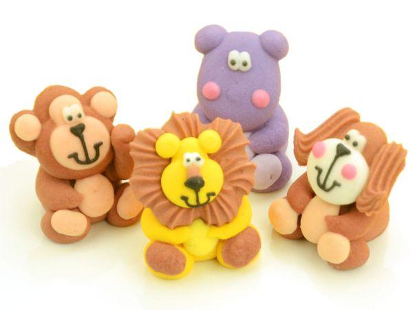Tierfiguren sitzend Zucker 4 Stück