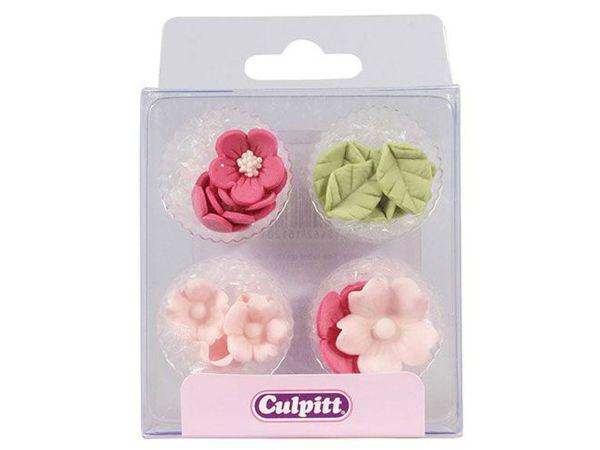 Culpitt Zuckerdekoration Blumen & Blätter Rosa 16 Stück