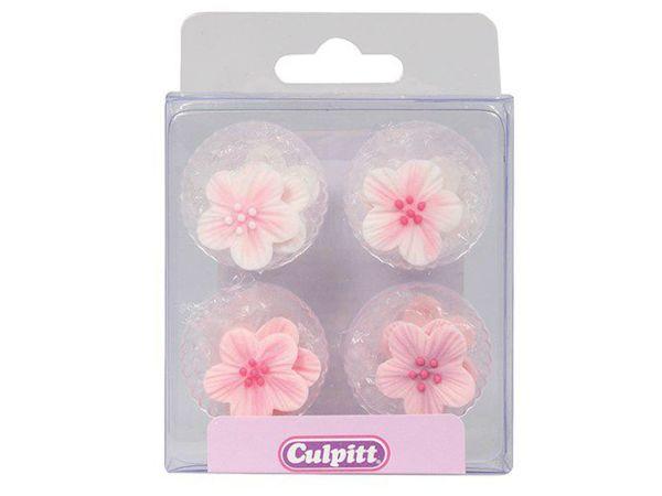 Culpitt Zuckerdekoration Blumen Rosa 12 Stück