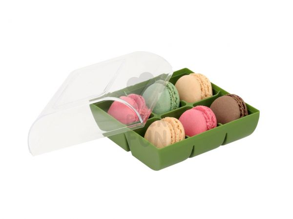 Macaron-Halbschalen 12 Stück bunt in 6er Box grün