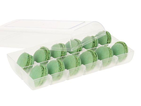 Macaron-Halbschalen 24 Stück grün in 12er Box transparent