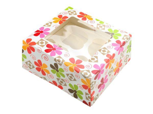 Cupcake Box Blumen für 4 Stück 2er Set