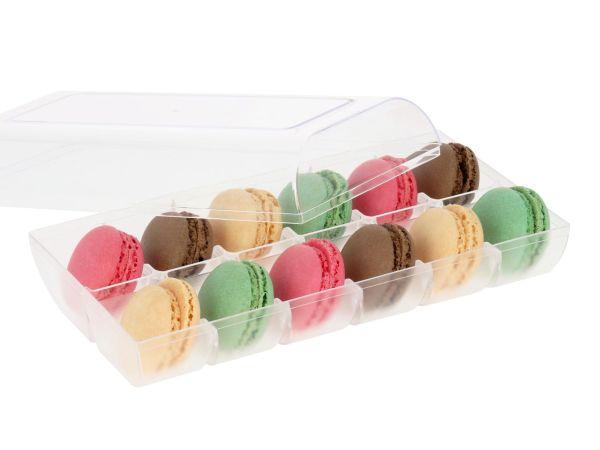 Macaron-Halbschalen 24 Stück bunt in 12er Box transparent