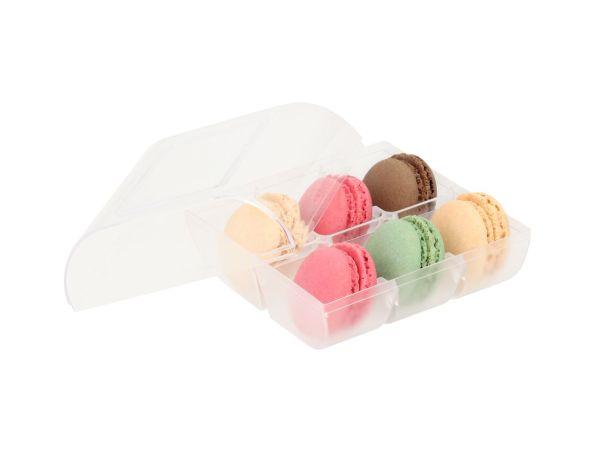 Macaron-Halbschalen 12 Stück bunt in 6er Box transparent