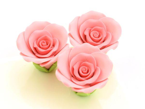 Rosen 35mm rosa Zucker 3 Stück