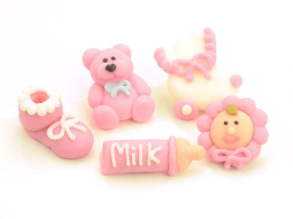 Taufenset rosa Zucker 5er Set