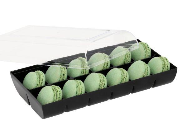 Macaron-Halbschalen 24 Stück grün in 12er Box schwarz
