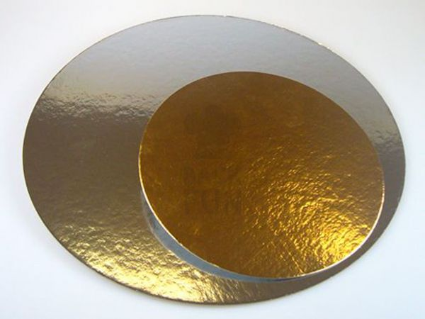 FunCakes Cake Cards silber-gold Rund 26cm, Stärke 1mm, 3 Stück