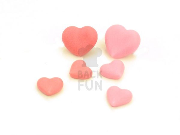 Herzen rosa-rot Zucker 20 Stück