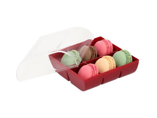 Macaron-Halbschalen 12 Stück bunt in 6er Box ruby