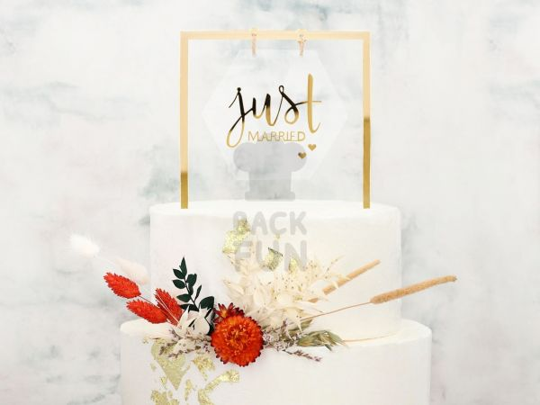 Cake Topper Just married gold