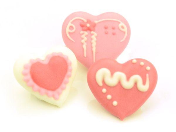Herzen weiß-rosa-rot Zucker 8 Stück