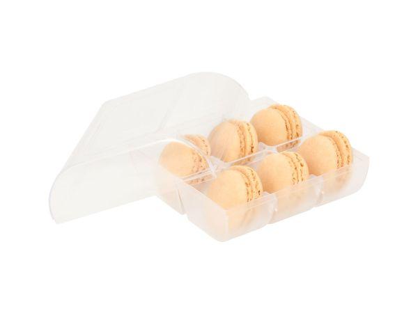 Macaron-Halbschalen 12 Stück gelb in 6er Box transparent