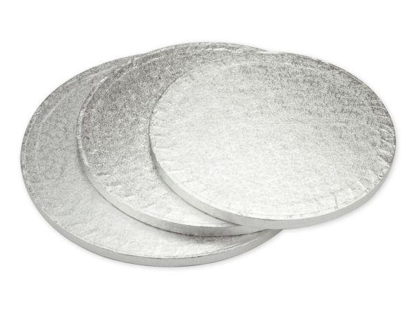 Cakeboard rund 25cm silber 5 Stück