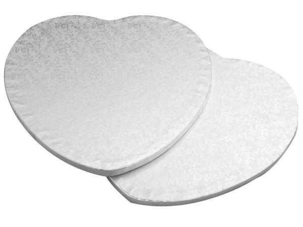 Cakeboard Herz 35cm silber 5 Stück