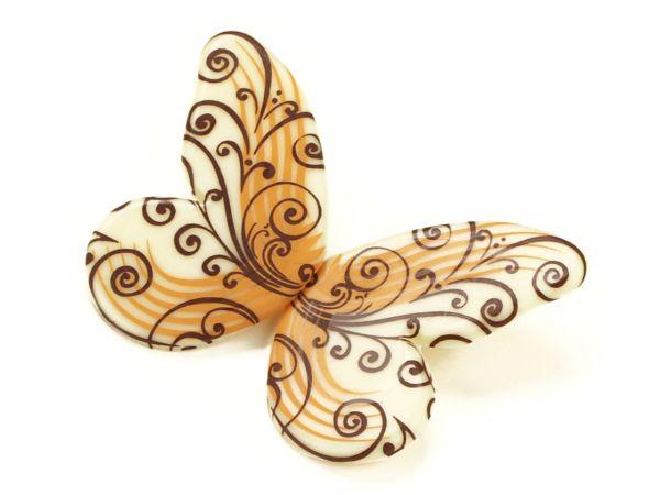 1 Folie Schokoladen-Schmetterlinge Weiß